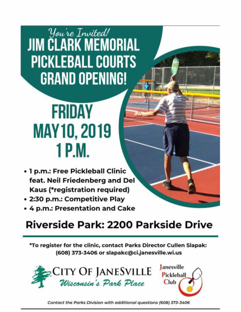 Flyer for Jim Clark Memorial Pickleball Courts Grand Opening